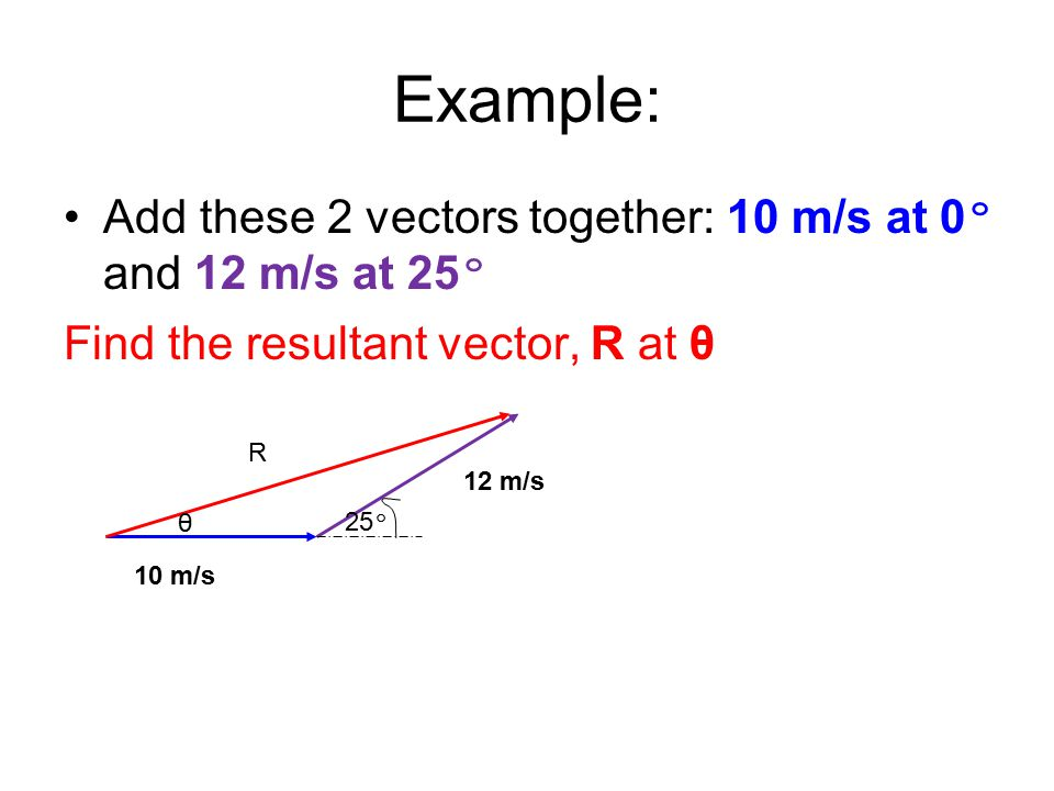 Example: Add these 2 vectors together: 10 m/s at 0 º and 12 m/s at 25 º Find the resultant vector, R at θ 10 m/s 12 m/s 25 º R θ
