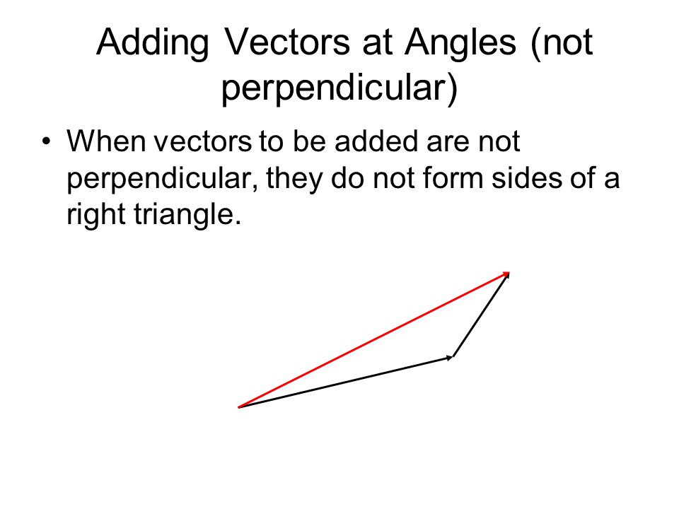 Adding Vectors at Angles (not perpendicular) When vectors to be added are not perpendicular, they do not form sides of a right triangle.
