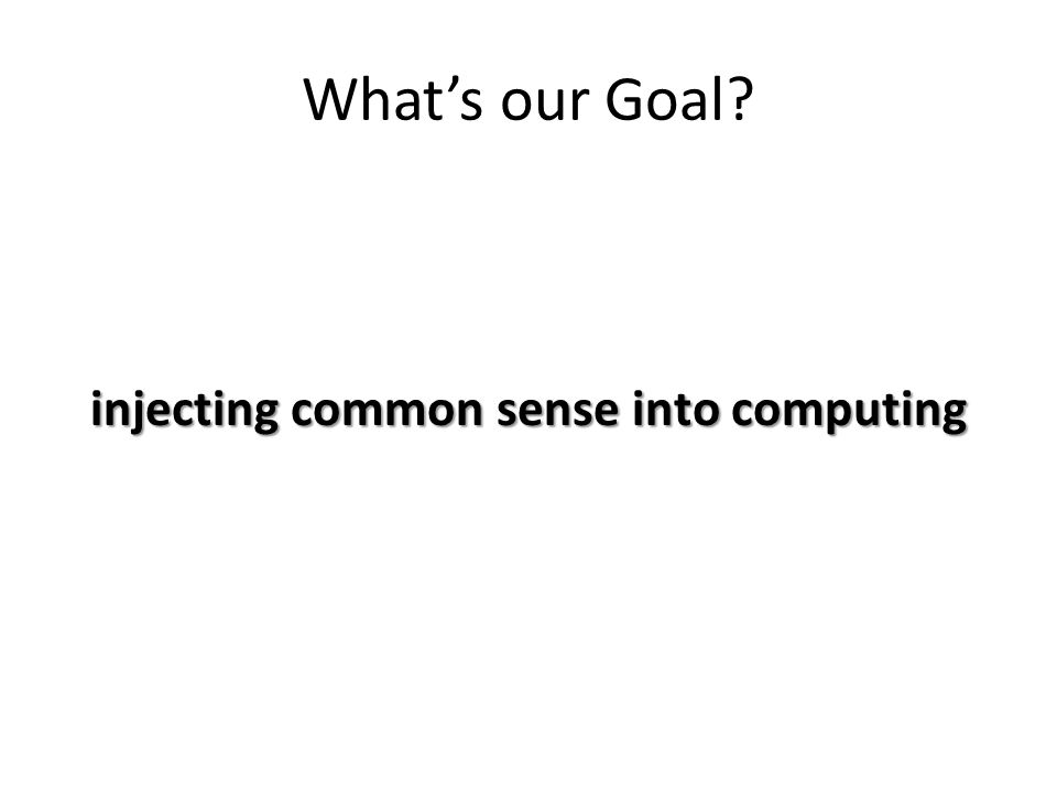 What's our Goal injecting common sense into computing
