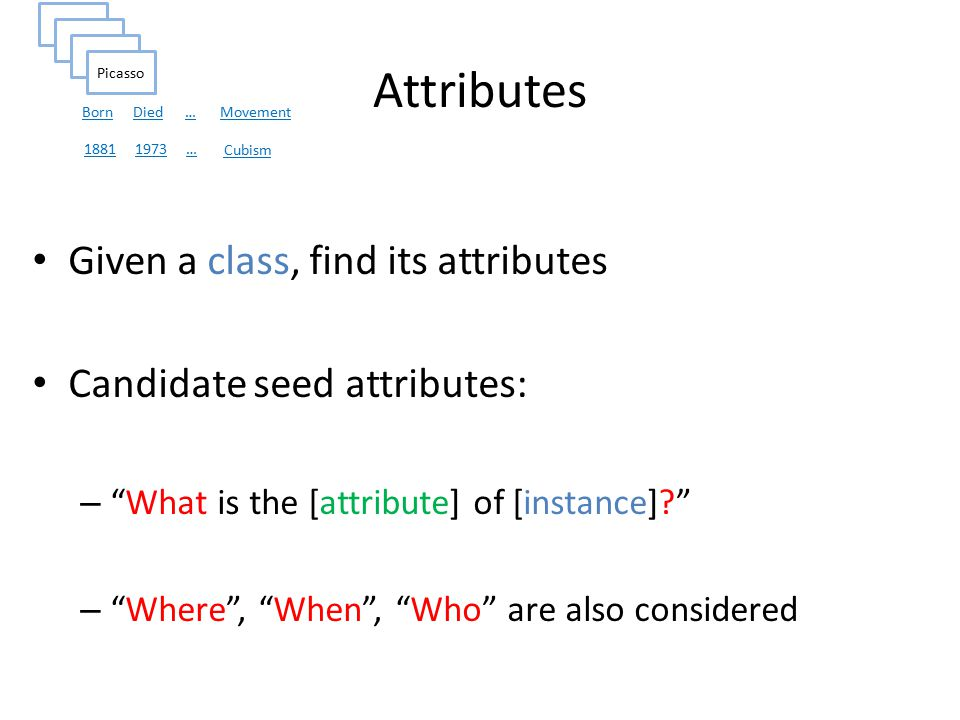 Attributes Given a class, find its attributes Candidate seed attributes: – What is the [attribute] of [instance] – Where , When , Who are also considered Picasso Movement BornDied… Cubism 18811973…