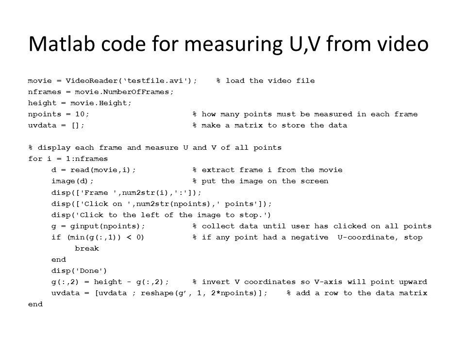 Matlab code for measuring U,V from video movie = VideoReader('testfile.avi');% load the video file nframes = movie.NumberOfFrames; height = movie.Heig