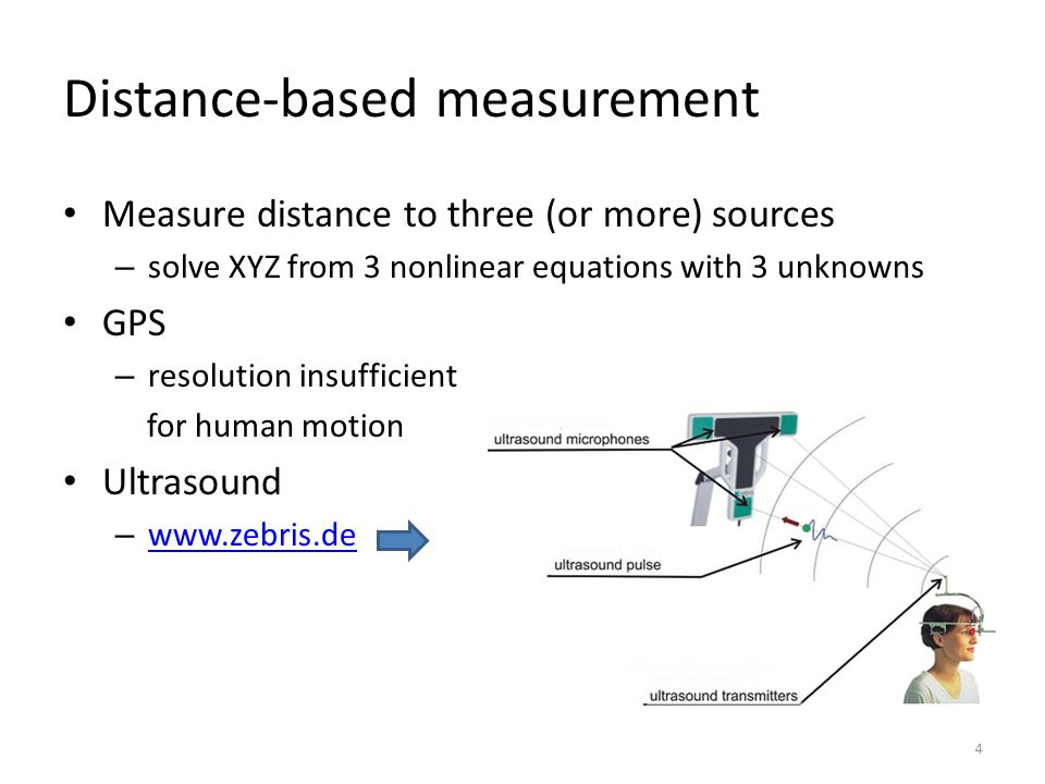 Force plate Measures ground reaction forces – rigid plate supported by four (or three) 3D force sensors – main vendors: Kistler, AMTI, Bertec – measures 6 variables: resultant 3D force (Fx,Fy,Fz) and moment (Mx,My,Mz) on the axes of the force plate – also available as instrumented treadmill – http://www.kwon3d.com/theory/grf.html http://www.kwon3d.com/theory/grf.html AMTI (a)Fxyz, Mxyz (b)forces acting on foot (c)forces in load cells (d)force and torque acting at center of pressure (COP) Equivalent force systems: (b) = (c) = (d) F x,M x F y,M y F z,M z