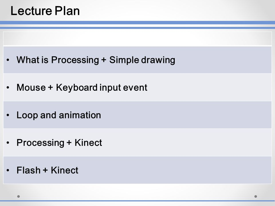 What is Processing + Simple drawing Mouse + Keyboard input event Loop and animation Processing + Kinect Flash + Kinect