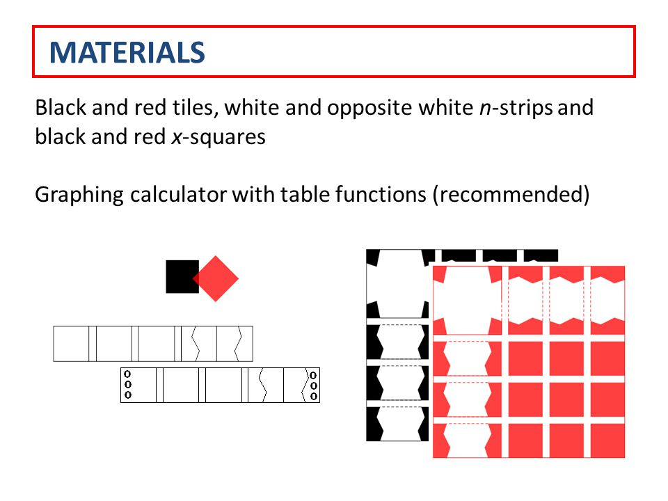 Black and red tiles, white and opposite white n-strips and black and red x-squares Graphing calculator with table functions (recommended) MATERIALS