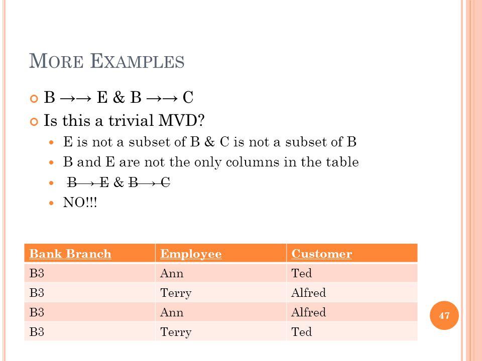 M ORE E XAMPLES B →→ E & B →→ C Is this a trivial MVD.