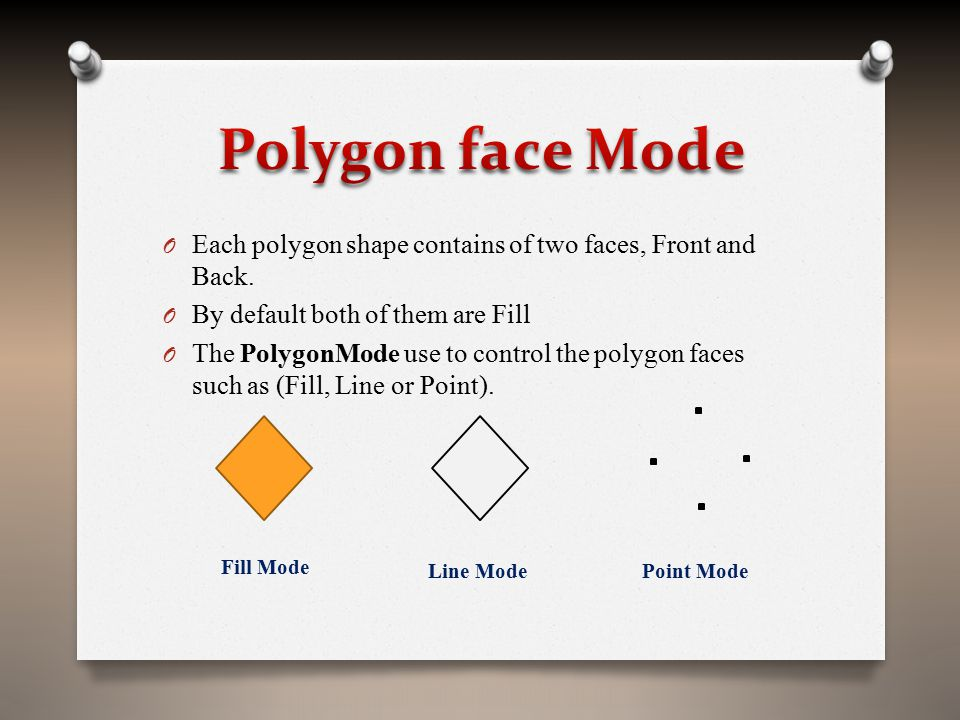O Each polygon shape contains of two faces, Front and Back. O By default both of them are Fill O The PolygonMode use to control the polygon faces such
