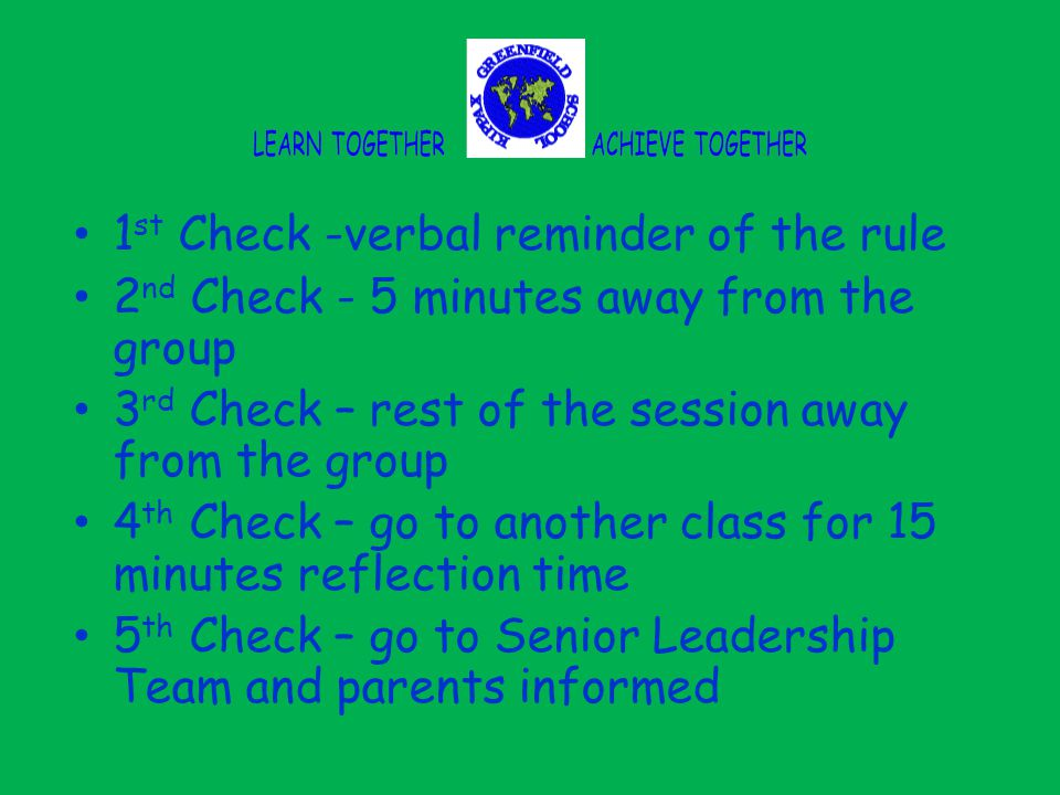 1 st Check -verbal reminder of the rule 2 nd Check - 5 minutes away from the group 3 rd Check – rest of the session away from the group 4 th Check – go to another class for 15 minutes reflection time 5 th Check – go to Senior Leadership Team and parents informed