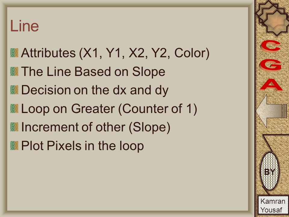 BY Kamran Yousaf Line 'dx', 'dy' to calculate the diffrence along x and y axis 'steps' to calculate Loop counting 'xInc', 'yInc' to calculate the Difference covered in each step 'x', 'y' to store current pixel position 'i' as a loop variable