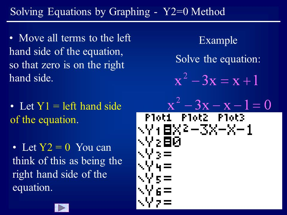 Solving Equations by Graphing - Y2=0 Method Move all terms to the left hand side of the equation, so that zero is on the right hand side.