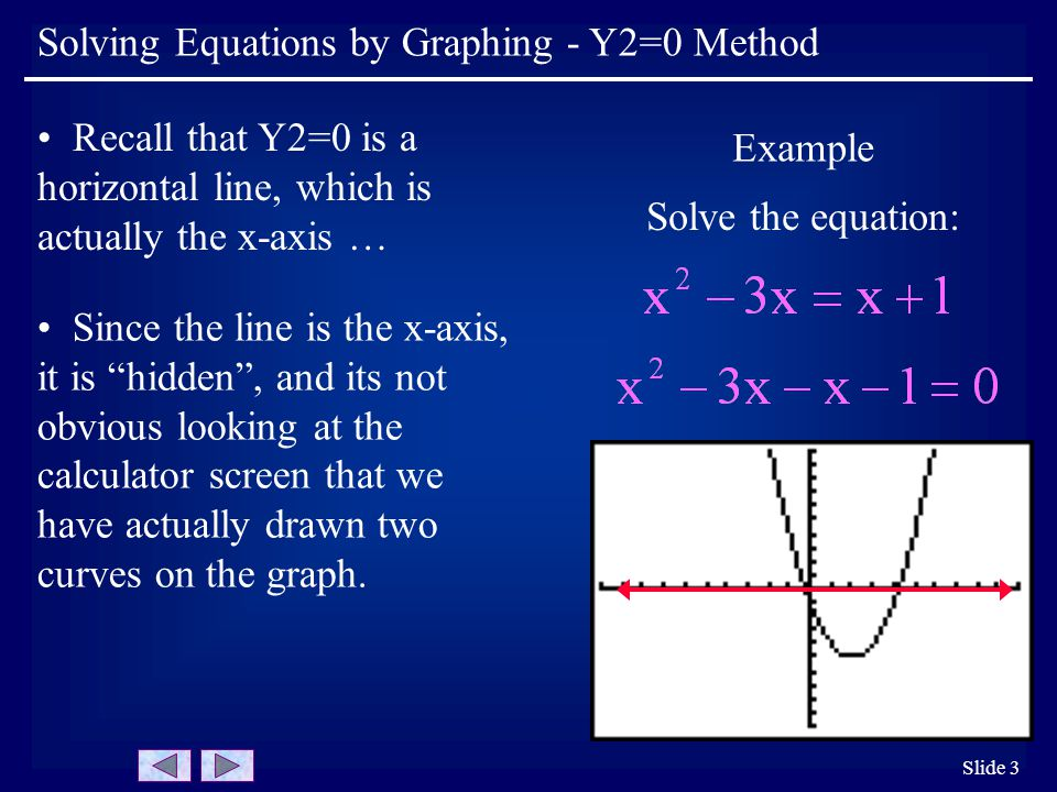 Slide 3 Example Solve the equation: Recall that Y2=0 is a horizontal line, which is actually the x-axis … Since the line is the x-axis, it is hidden , and its not obvious looking at the calculator screen that we have actually drawn two curves on the graph.