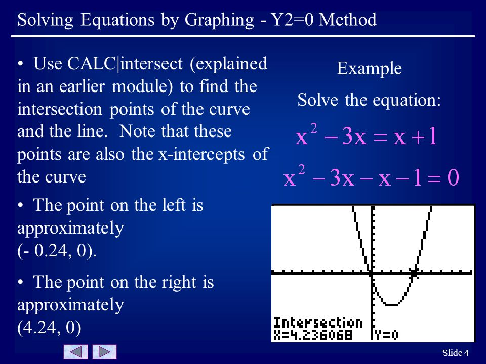 Slide 4 Example Solve the equation: Use CALC|intersect (explained in an earlier module) to find the intersection points of the curve and the line.
