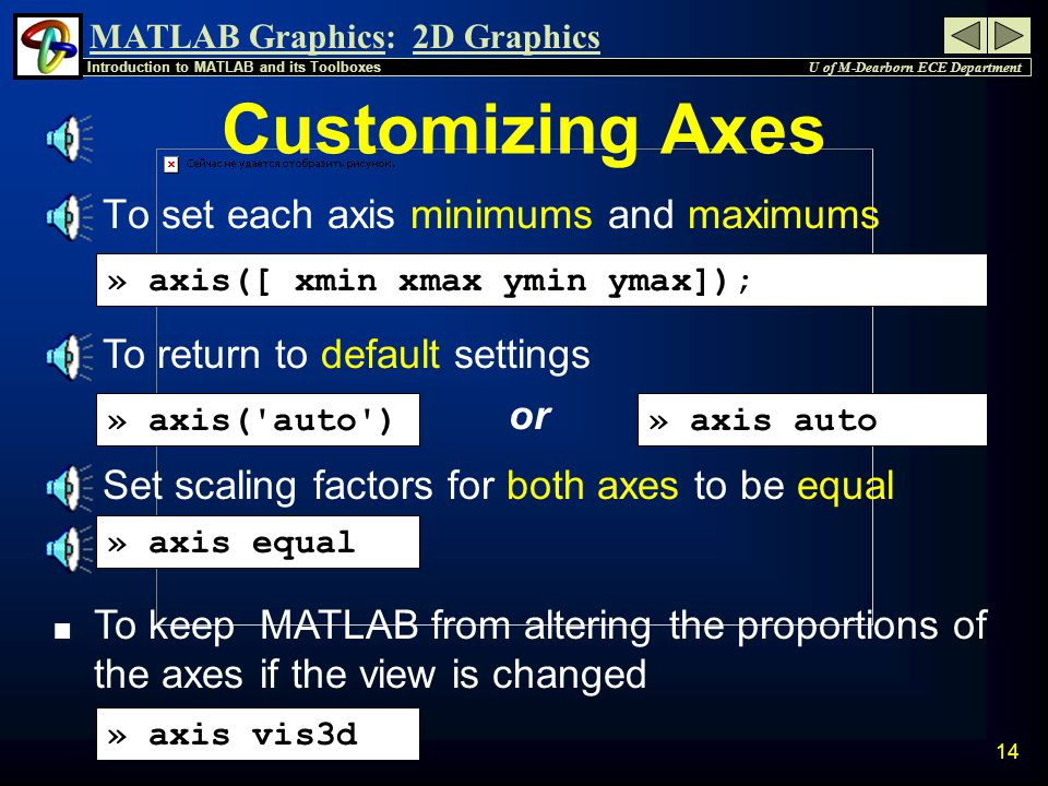 MATLAB Graphics: U of M-Dearborn ECE Department Introduction to MATLAB and its Toolboxes 2D Graphics 13 Placing Legend Box n Click and Drag to place Legend