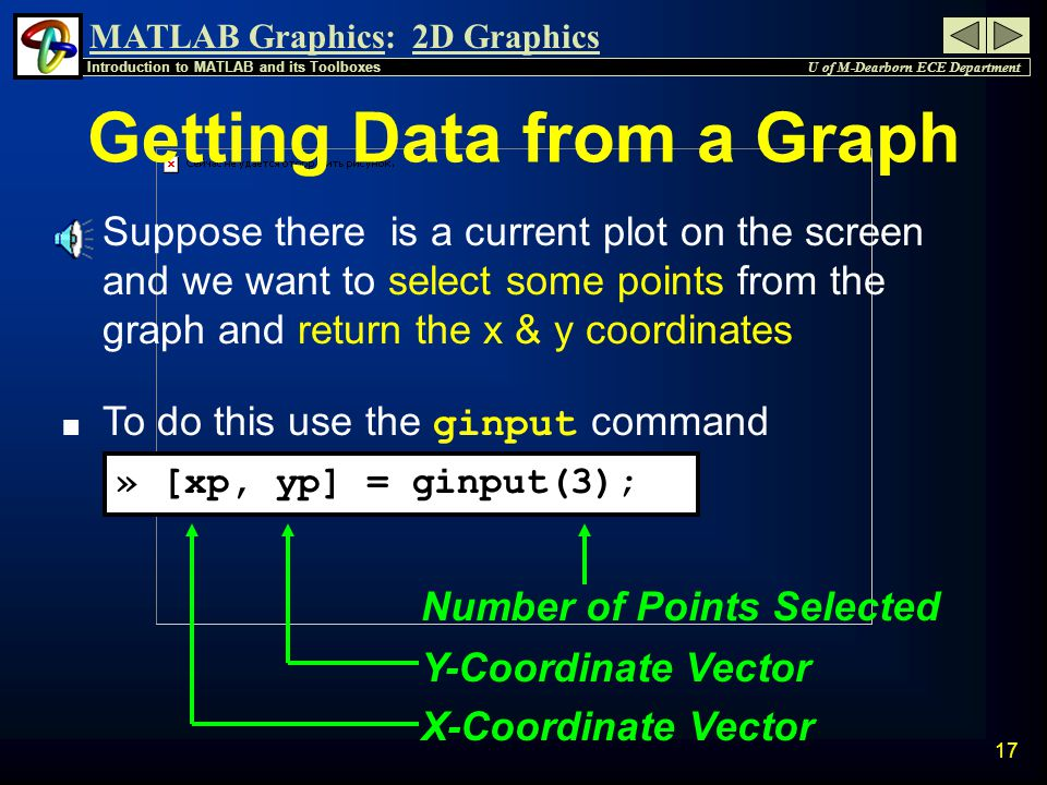 MATLAB Graphics: U of M-Dearborn ECE Department Introduction to MATLAB and its Toolboxes 2D Graphics 16 Adding Text to a Graph gtext is used to place text on a graph n It puts the cross-hair that follows the mouse and waits for a click at the desired location » gtext( These are straight lines );