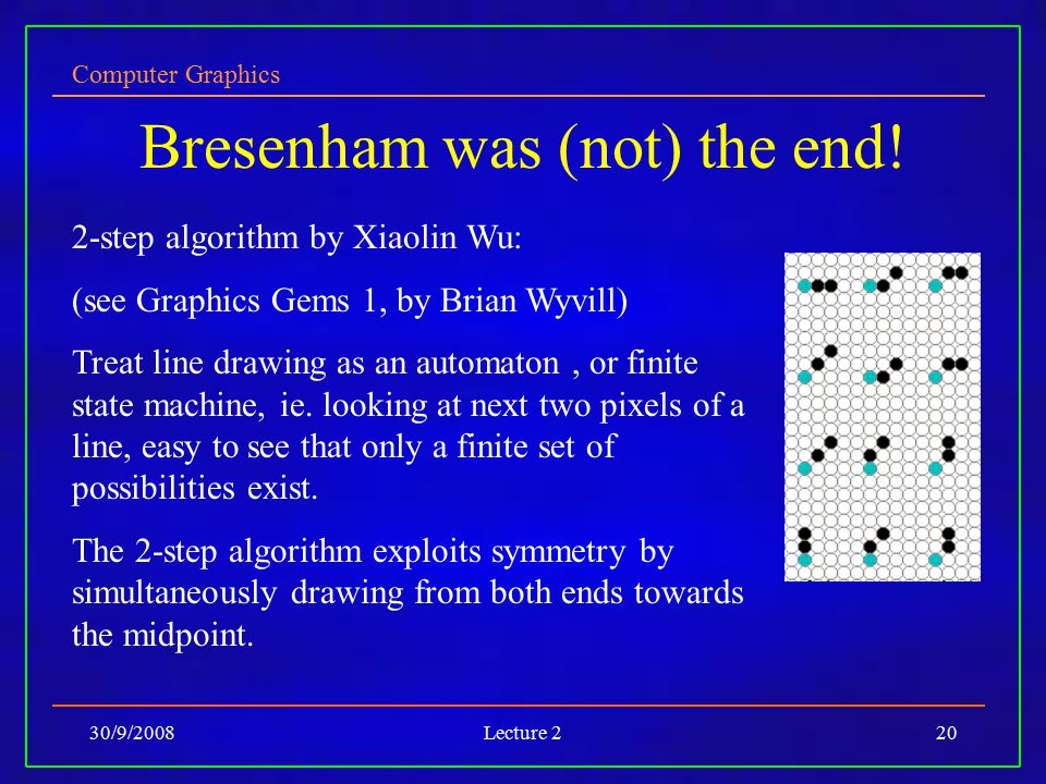 Computer Graphics 30/9/2008Lecture 220 Bresenham was (not) the end! 2-step algorithm by Xiaolin Wu: (see Graphics Gems 1, by Brian Wyvill) Treat line