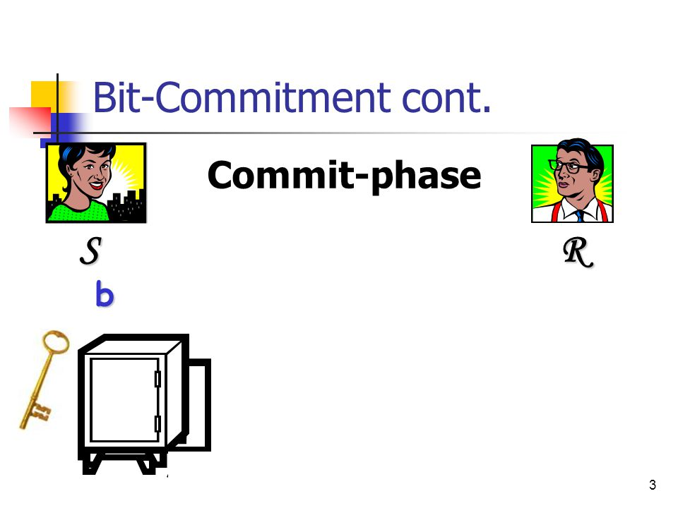 4 Bit-Commitment cont. Reveal-phase b S R