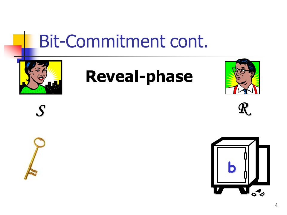 5 Bit-Commitment cont.R Hiding – R does not learn the value of b during the commit-phase.