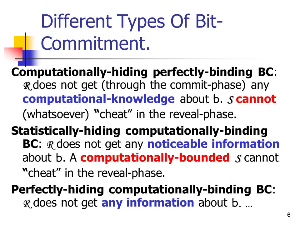 6 Different Types Of Bit- Commitment.