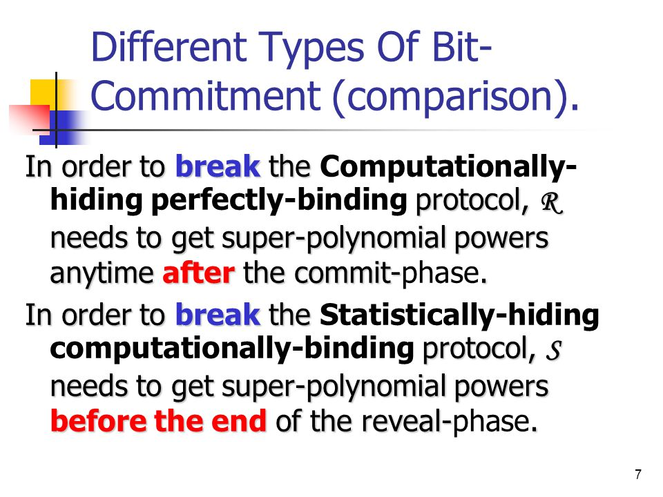 7 Different Types Of Bit- Commitment (comparison).