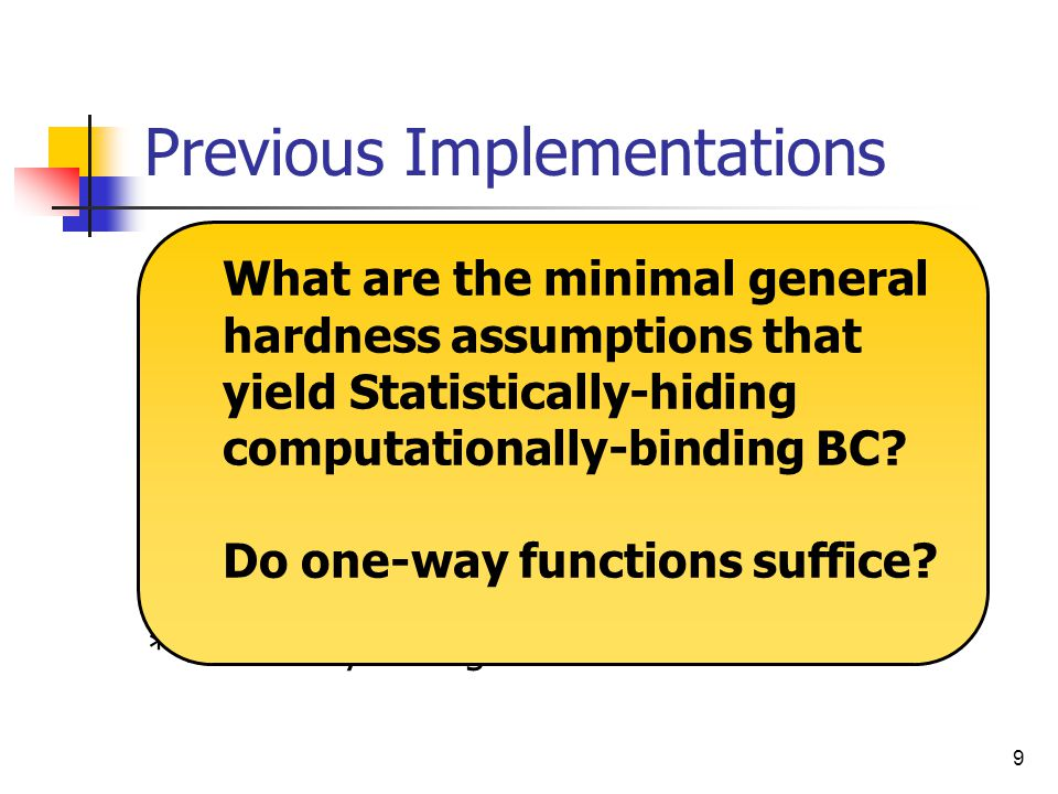 10 Our Result Statistically-hiding computationally- binding BC using approximable-size one-way functions.