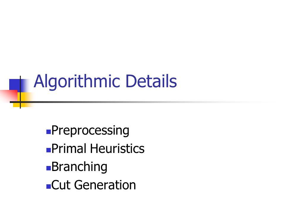 Algorithmic Details Preprocessing Primal Heuristics Branching Cut Generation