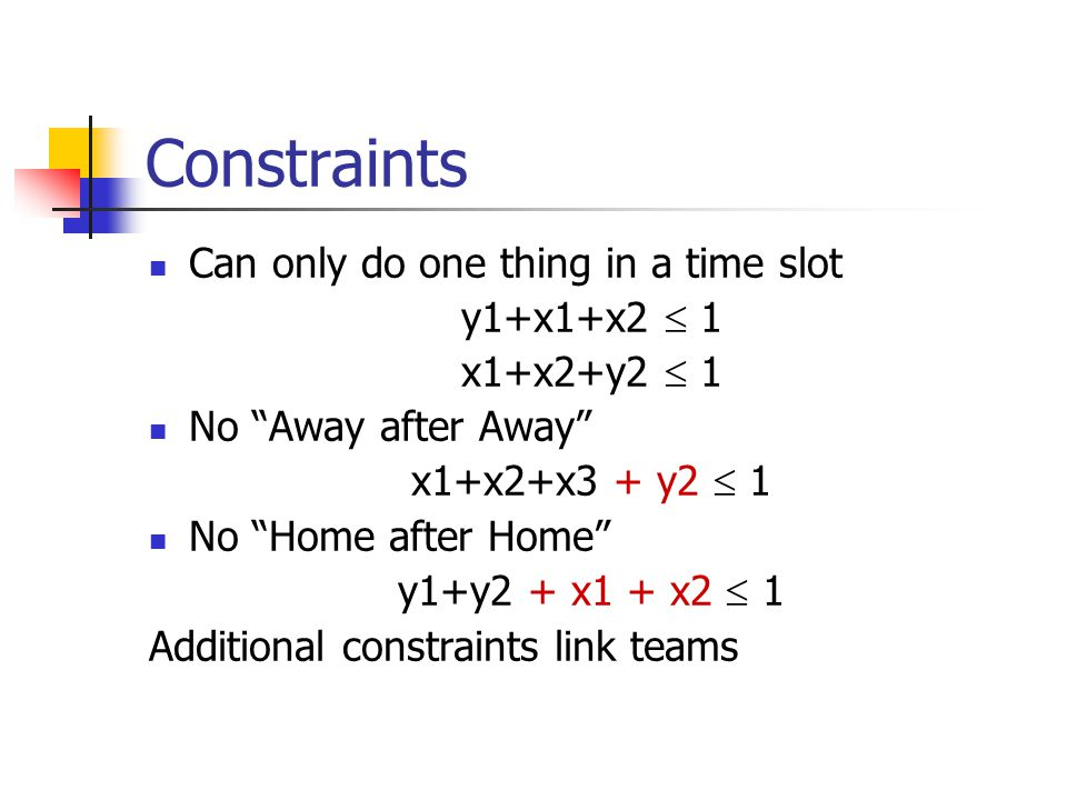 Constraints Can only do one thing in a time slot y1+x1+x2  1 x1+x2+y2  1 No Away after Away x1+x2+x3 + y2  1 No Home after Home y1+y2 + x1 + x2  1 Additional constraints link teams