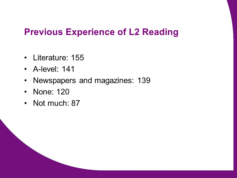 Previous Experience of L2 Reading Literature: 155 A-level: 141 Newspapers and magazines: 139 None: 120 Not much: 87
