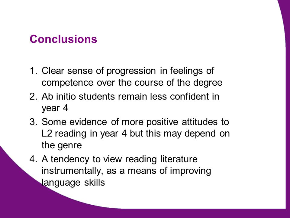 Conclusions 1.Clear sense of progression in feelings of competence over the course of the degree 2.Ab initio students remain less confident in year 4