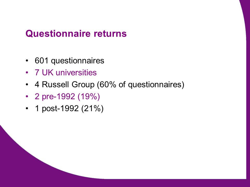 Questionnaire returns 601 questionnaires 7 UK universities 4 Russell Group (60% of questionnaires) 2 pre-1992 (19%) 1 post-1992 (21%)