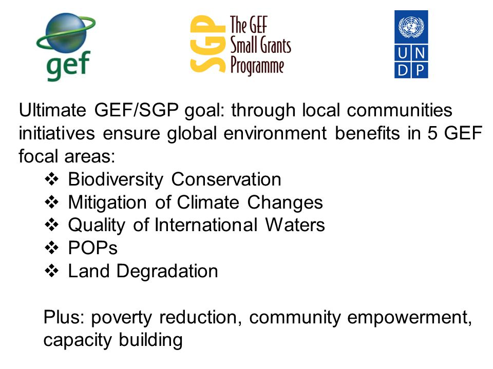 Ultimate GEF/SGP goal: through local communities initiatives ensure global environment benefits in 5 GEF focal areas:  Biodiversity Conservation  Mitigation of Climate Changes  Quality of International Waters  POPs  Land Degradation Plus: poverty reduction, community empowerment, capacity building