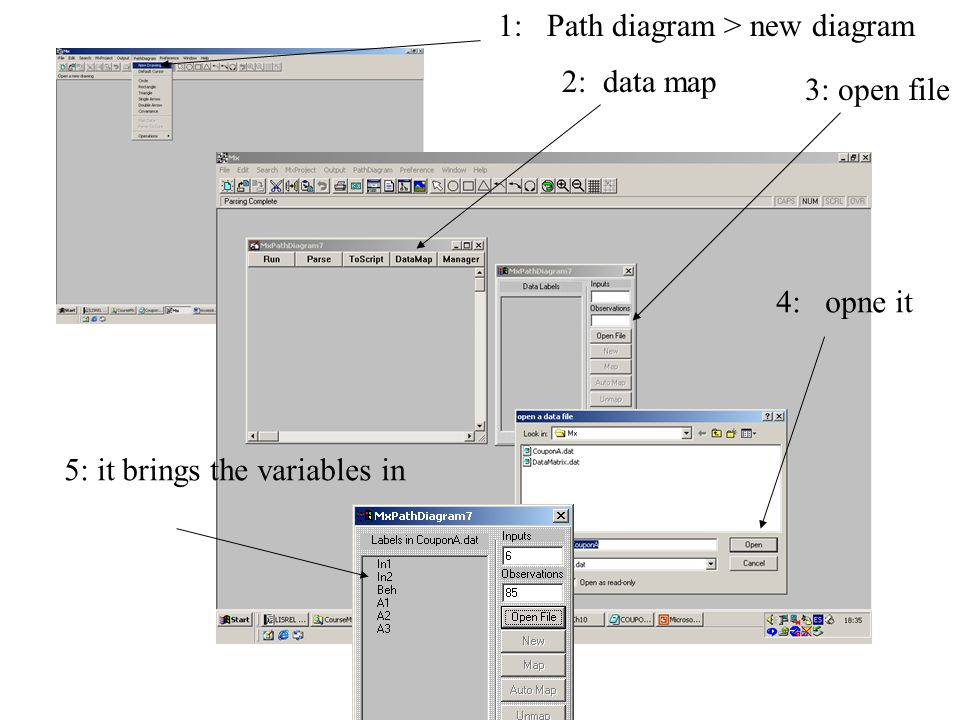 1: Path diagram > new diagram 2: data map 3: open file 4: opne it 5: it brings the variables in