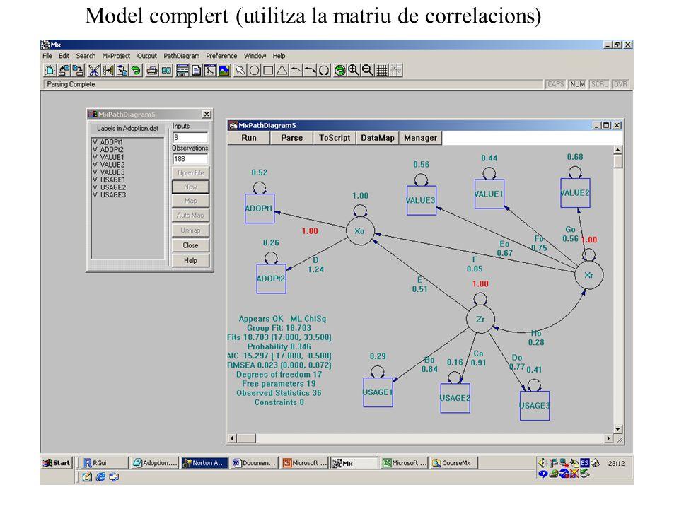 Model complert (utilitza la matriu de correlacions)