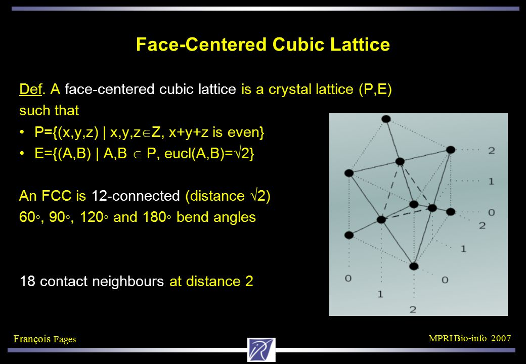 François Fages MPRI Bio-info 2007 Face-Centered Cubic Lattice Def.