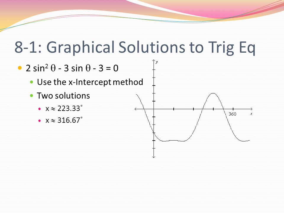8-1: Graphical Solutions to Trig Eq 2 sin 2  - 3 sin  - 3 = 0 Use the x-Intercept method Two solutions x  223.33˚ x  316.67˚