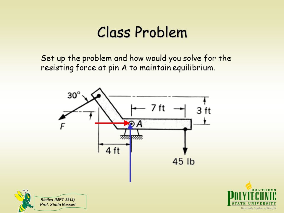 Statics (MET 2214) Prof. Simin Nasseri Class Problem Set up the problem and how would you solve for the resisting force at pin A to maintain equilibri