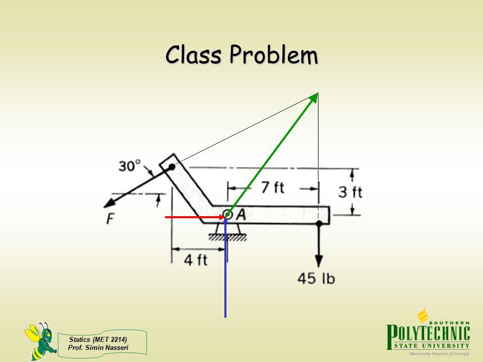 Statics (MET 2214) Prof. Simin Nasseri Class Problem
