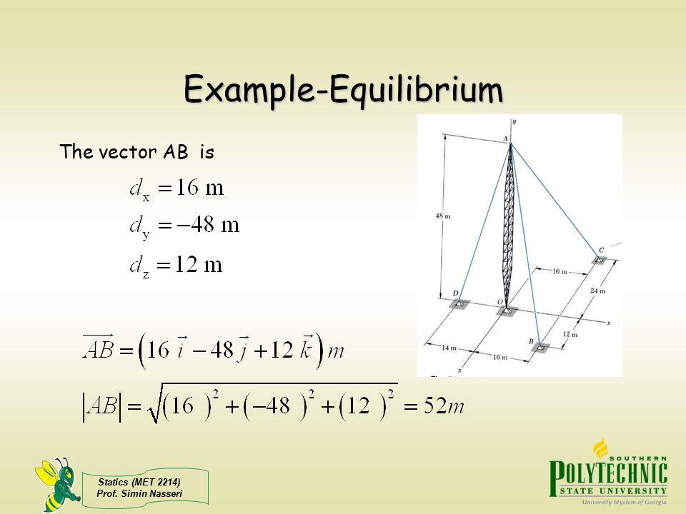 Statics (MET 2214) Prof. Simin Nasseri Example-Equilibrium The vector AB is