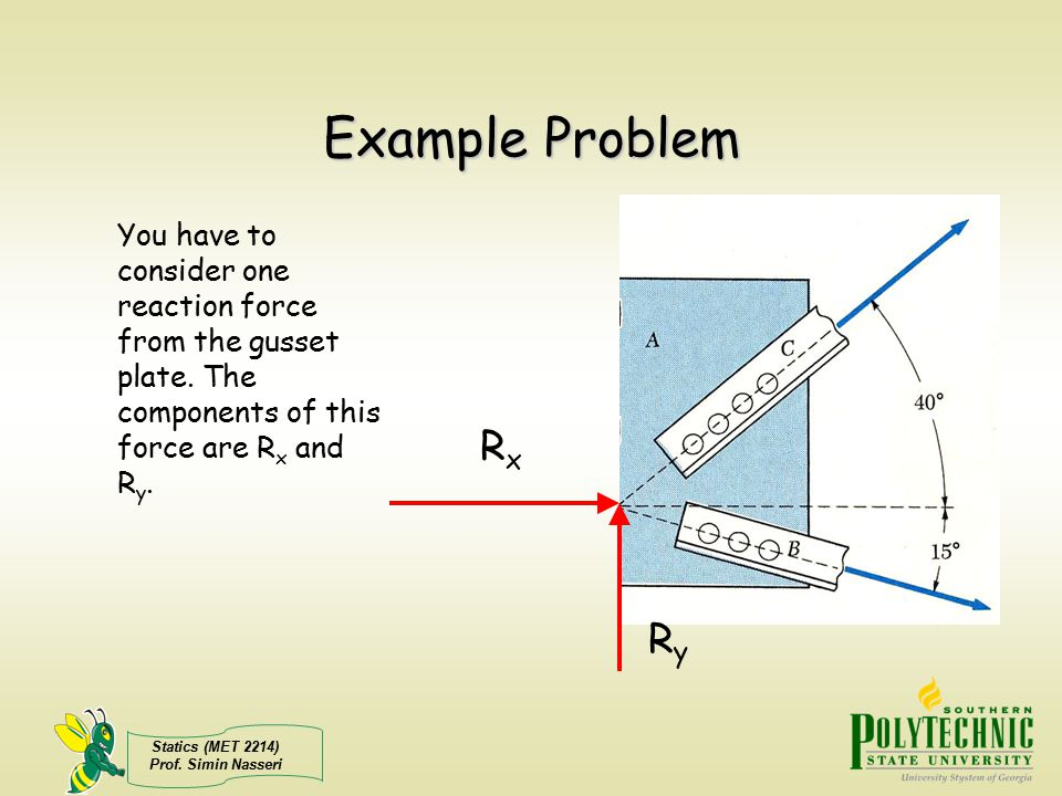 Statics (MET 2214) Prof. Simin Nasseri Example Problem RxRx RyRy You have to consider one reaction force from the gusset plate. The components of this