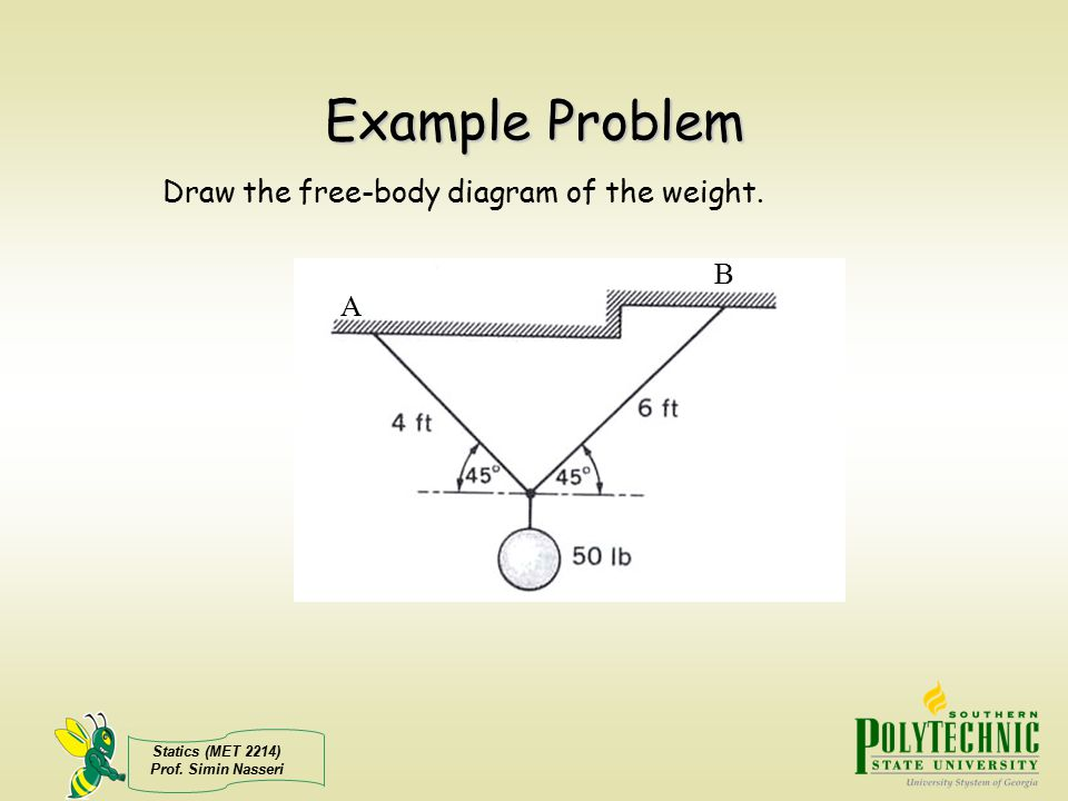 Statics (MET 2214) Prof.Simin Nasseri Example Problem Draw the free-body diagram of the weight.