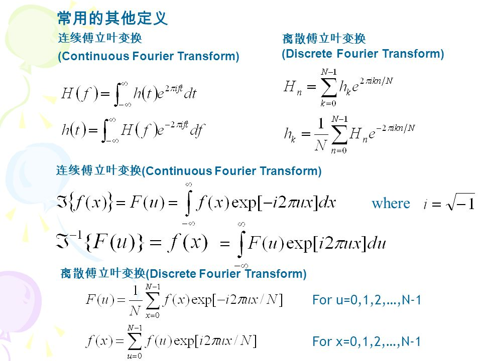 连续傅立叶变换 (Continuous Fourier Transform) 离散傅立叶变换 (Discrete Fourier Transform) where For u=0,1,2,…,N-1 For x=0,1,2,…,N-1 连续傅立叶变换 (Continuous Fourier Transform) 离散傅立叶变换 (Discrete Fourier Transform) 常用的其他定义