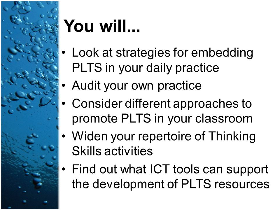 Look at strategies for embedding PLTS in your daily practice Audit your own practice Consider different approaches to promote PLTS in your classroom W
