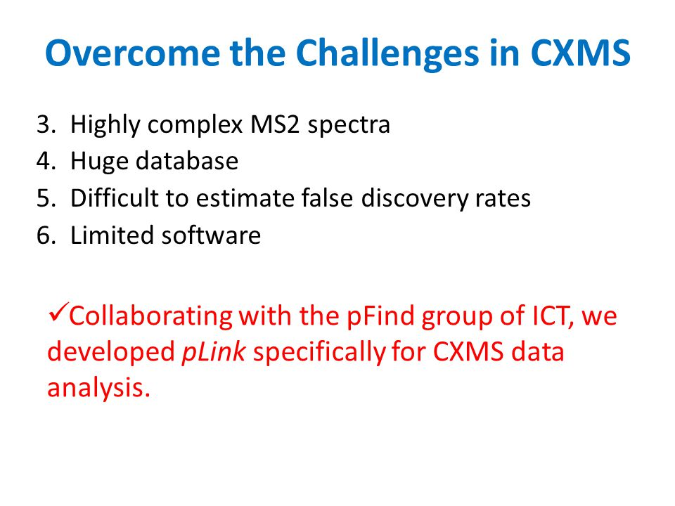 Overcome the Challenges in CXMS 3.Highly complex MS2 spectra 4.Huge database 5.Difficult to estimate false discovery rates 6.Limited software Collabor