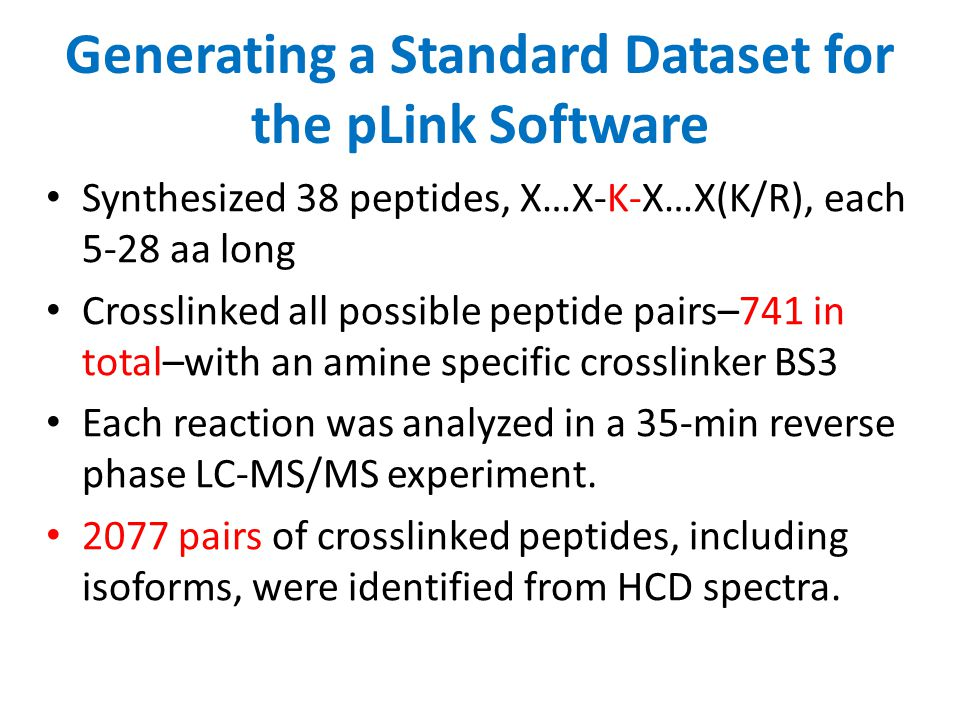 Generating a Standard Dataset for the pLink Software Synthesized 38 peptides, X…X-K-X…X(K/R), each 5-28 aa long Crosslinked all possible peptide pairs
