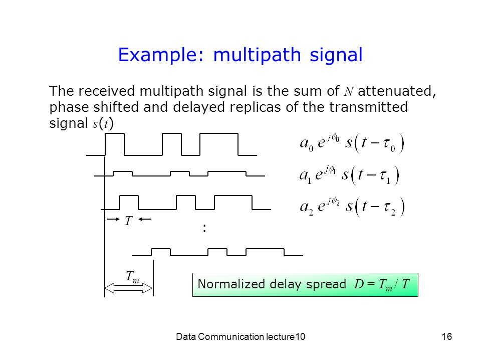 Data Communication lecture1016 Example: multipath signal The received multipath signal is the sum of N attenuated, phase shifted and delayed replicas of the transmitted signal s ( t ) T TmTm Normalized delay spread D = T m / T :