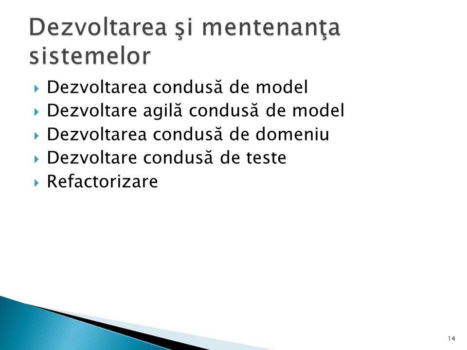  Dezvoltarea condusă de model  Dezvoltare agilă condusă de model  Dezvoltarea condusă de domeniu  Dezvoltare condusă de teste  Refactorizare 14