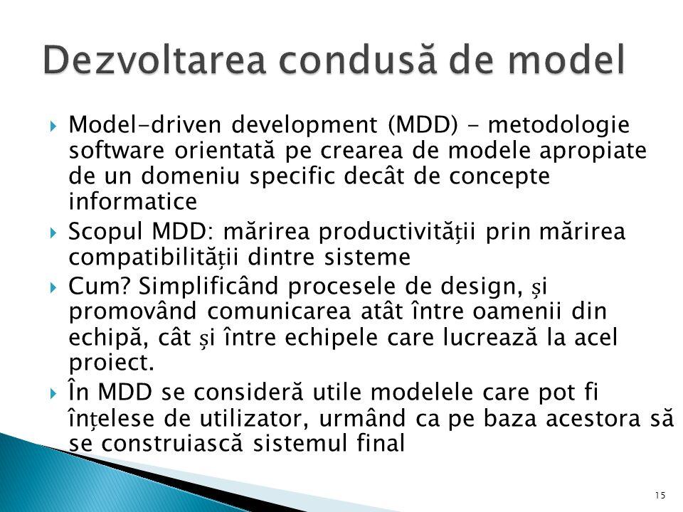  Model-driven development (MDD) - metodologie software orientată pe crearea de modele apropiate de un domeniu specific decât de concepte informatice