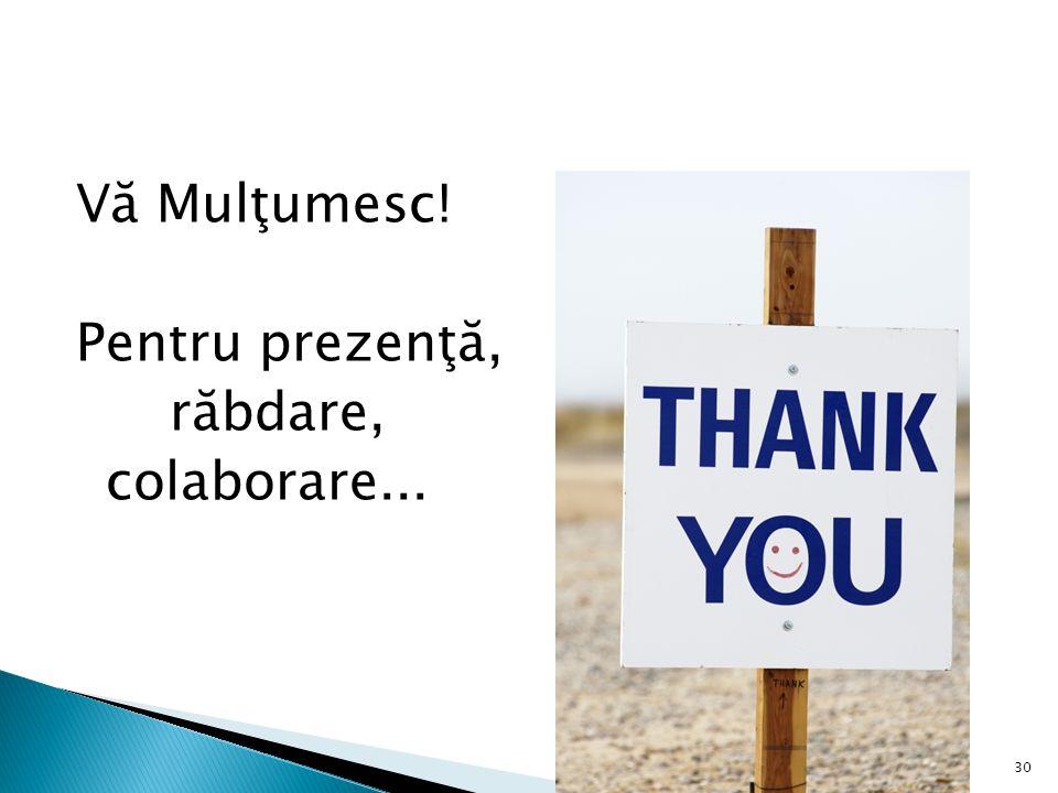 Vă Mulţumesc! Pentru prezenţă, răbdare, colaborare... 30