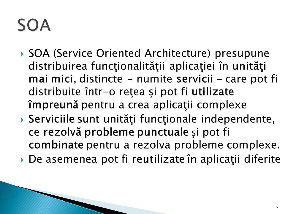  SOA (Service Oriented Architecture) presupune distribuirea funcţionalităţii aplicaţiei în unităţi mai mici, distincte - numite servicii - care pot f