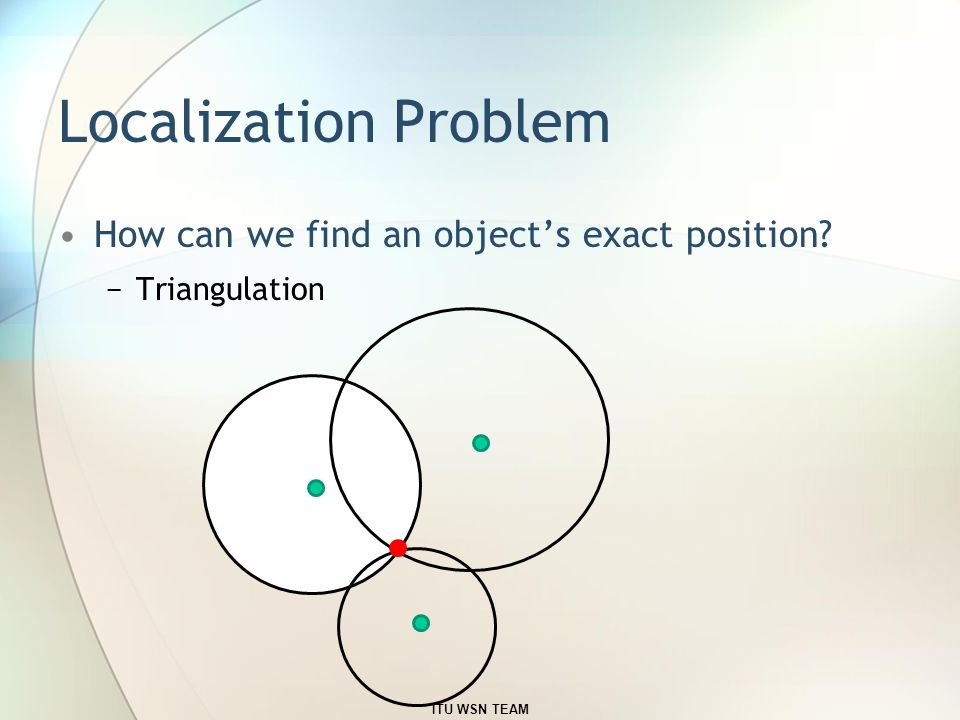 Localization Problem How can we find an object's exact position? −Triangulation ITU WSN TEAM