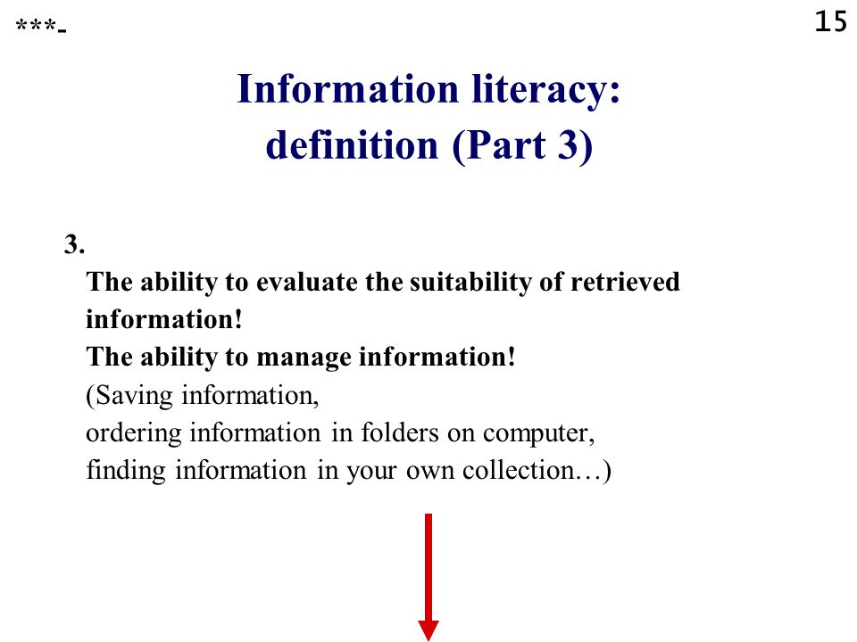 15 Information literacy: definition (Part 3) 3.
