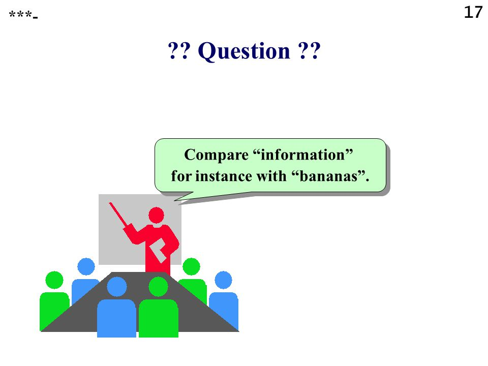 Question Compare information for instance with bananas . ***- 17
